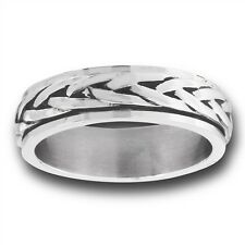 Spinning Stainless Steel Braided Weave Style Fashion Ring Size 7-13