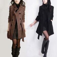 Women Double-breasted Trench Coat Winter Slim Long Jacket Suit Overcoat Outwear