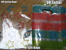 100x CLEAR PLASTIC STARS MEDIUM GIFT PARTY CARRIER BAGS SHOPS SWEETS 19cmx15cm