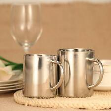 Double-Wall Stainless Steel Drinking Coffee Tea Cup Tub-shaped Beer Mug V6R0