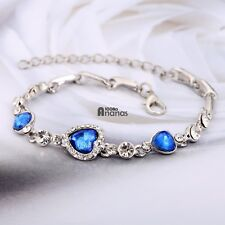 Elegant Women Shinny Crystal Rhinestone Heart Shape Charm Bangle Bracelet AN18