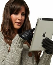 LADIES BLACK GENUINE LEATHER TOUCH SCREEN THERMAL INSULATED FLEECE LINED GLOVES