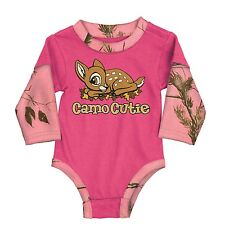 CAMO CUTIE REALTREE AP PINK CAMO INFANT TODDLER BODY SUIT, SNAP SHIRT, BUCK WEAR