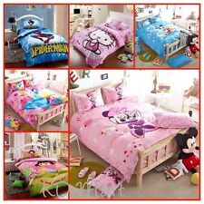 New Kids Bed Quilt Cover Cotton Set Single/Queen/King hello Kitty/Micky/Minnie