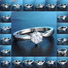 New White Gold Filled Ring Clear Sapphire Wedding Engagement Jewelry # 6,7,8,9