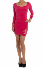 S M L Mini Dress Slashed Slits Cut Fuchsia Pink 3/4 Sleeve Stretch Club Sexy