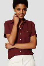 NWT ANN TAYLOR LOFT Red Short Sleeve Button Front Utility Blouse Size S
