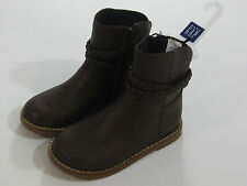 NWT Baby Gap Factory Girls Size 10 Toddler Brown Braided Booties Boots Zipper