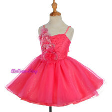 Rhinestones Coral Tulle Dress Wedding Flower Girl Pageant Party Size 2T-8 FG302