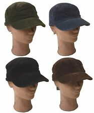 Cadet Army Military Castro Vintage Fashion Newsboy Corduroy Distressed Hat Cap