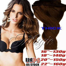 BEST Double Weft Clip In Remy Human Hair Extensions THICK Full Head 220G SU433