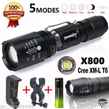 Ultra CREE XM_L T6 LED Zoom 5000LM Flashlight Torch Light+Battery+Charge+Bracket