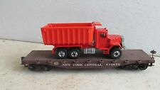 NEW YORK CENTRAL FLATCAR # 498676 WITH DUMP TRUCK FOR LOAD  ~HO SCALE