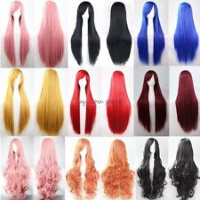 Women Wig Long Curly Straight Full Hair Cosplay Costume Party Fancy Dress Purple