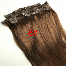 105g 16''~24'' Clip In Real Human Hair Remy Hair Clip Extensions Medium Brown