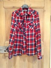 Ladies Bank Blonde + Blonde Red White And Blue Checked Shirt Size 10