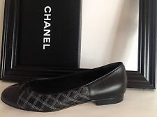 CHANEL Black Leather Shoes Ballerinas Flats Quilted Silver CC EU 40 NIB!