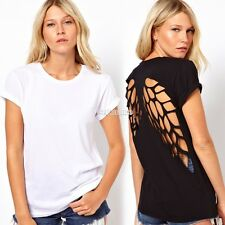 Womens Hollow Out Backless T-Shirt Blouse Angel Wings Crewneck Short Sleeve Tops