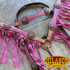 HILASON WESTERN LEATHER HEADSTALL BREAST COLLAR TAN PINK FRINGES W/ BLING CONCHO