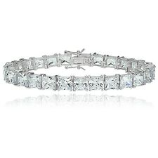 Sterling Silver Princess-cut Cubic  Zirconia 6x6mm Tennis Bracelet