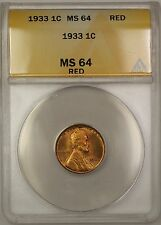 1933 Lincoln Wheat Penny Cent 1c Coin ANACS MS-64 Red KE (B)