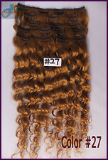 Honey Blonde Curly Wavy Clip In Real Human Hair Extension Deep Weaving Full Head