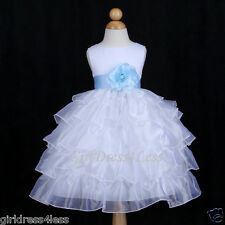 WHITE/SKY BLUE PAGEANT ORGANZA WEDDING FLOWER GIRL DRESS 12M 18M 24M 2 4 6 8 10