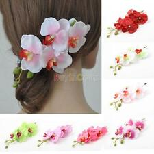 2Pcs Womens Butterfly Orchid Flower Hair Clip Barrette Pin Bridal Wedding Party