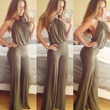 Womens Fashion Casual Halter Off-shoulder Backless Sexy Long Jumpsuit Romper