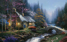 Oil Painting HD Print Twilight Cottage On Canvas24x36in