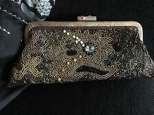 """Vintage Beaded Clutch Bag Full Of Beads. Browns Golds By Keko 10"""" X 4"""" Approx"""