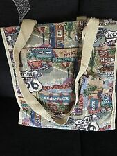 """Route 66 Shopping Bag With Attached Coin Purse 12"""" X 12.5"""" Approx. 5"""" Width."""