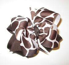 Brown Giraffe Boutique Hair Bow Girls Big Double Layer Hairbow Party Baby Animal