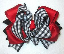 Red Black White Gingham Checked Boutique Hair Bow Girls Classic School BTS Bows