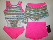 New Girls Leotard Shorts Set LC (10-12) Child Large Dance Gymnastics Capezio Lot