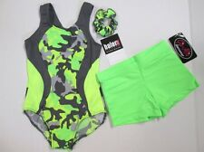 New Girls Leotard Shorts Set Size Child M L Green Camo Dance Gymnastics Lot