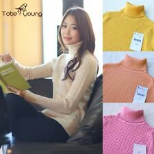 Womens Turtleneck Stretch Slim Pullover Sweater Long Sleeve Knit Top Warm Jumper