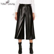 Fashion Womens Faux Leather Wide Leg Pants High Waist Loose Capris Trousers S-XL