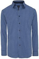 NEW Tarocash Men's Ganton Check Business Work Formal Shirt Blue