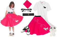 Hip Hop 50s Shop Womens 8pc Poodle Skirt Halloween Costume Set Shocking Pink
