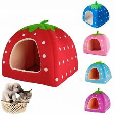 Portable Soft Strawberry Pet Dog Cat Bed House Kennel Doggy Warm Cushion Basket