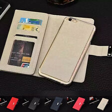 For iPhone 7&7 Plus Dual Flip Leather Removable Magnetic Wallet Card Case Cover