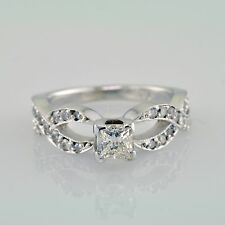Engagement Ring 1.74 Carat Princess and Round Shape Diamond VS1 GIA Prong Set