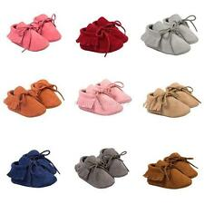 Newborn Kids Baby Tassel Crib Shoes Soft Sole Prewalkers Baby Shoes 0-18M