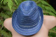 New JEANSWEST Navy/Silver Trim  FEDORA HAT.WOVEN Straw Style rrp$24.99