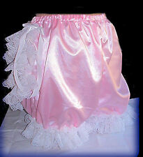 ABDL Adult Sissy Baby Panties, Pink Satin, Cos Play, Ruffle Butt ABDL Adult Siss