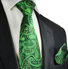 Garden Green Paisley Silk Tie and Pocket Square by Paul Malone