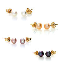 Solid 14ct Yellow Gold Genuine 5-6mm Freshwater Pearl Stud Earrings 14k Posts