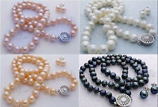 Natural 7-8MM Akoya Freshwater Cultured Pearl Necklace 18'' + Earring Set