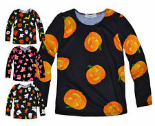 Girls Long Sleeved Halloween T-Shirt New Kids Costume Ghost Tops Ages 4-13 Years